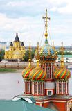 Domes of Stroganov Church and Cathedral Nevsky. Colorful domes of Stroganov Church and Cathedral Nevsky Nizhny Novgorod Russia Stock Image