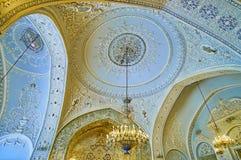Domes of Talar-e Salam in Golestan, Tehran. TEHRAN, IRAN - OCTOBER 11, 2017: The splendid interior of Reception Hall Talar-e Salam of Golestan Palace with domes Stock Photography
