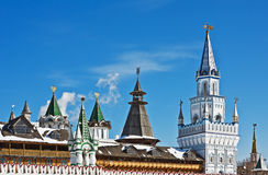 Domes and towers of the Kremlin in Izmailovo in Moscow Stock Images