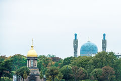 Domes and Towers of Mosque in St. Petersburg Royalty Free Stock Image