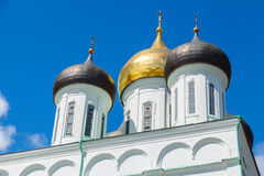 Domes of Trinity Cathedral located since 1589 in Pskov Stock Image