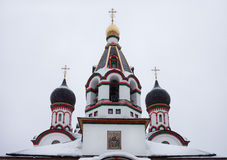 Domes of Trinity church in Old Cheremushki. Moscow. royalty free stock images