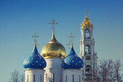 Domes of Trinity Lavra of st. Sergius. Stock Photo