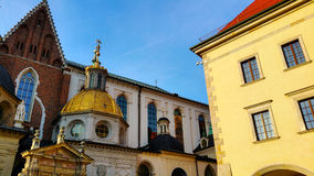 Domes of two Renaissance chapels on the side of the cathedral on Wawel Hill in Krakow Poland. Stock Image