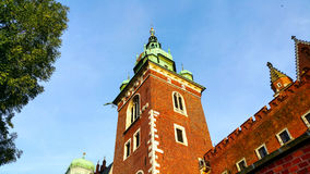 Domes of two Renaissance chapels on the side of the cathedral on Wawel Hill in Krakow Poland. Stock Photo