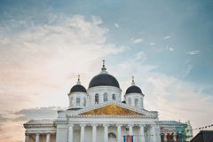 Domes 999. Domes of the Voskresensky cathedral at sunset in a prezdnik Stock Images