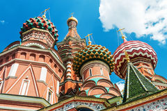 Domes and walls of St. Basil's Cathedral in Moscow Stock Image
