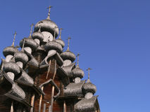 Domes of wooden church Royalty Free Stock Image