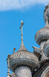 Domes of wooden church in Kizhi Stock Images