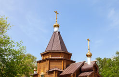 Domes of the wooden orthodox church Royalty Free Stock Photos