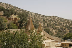 Domes of a Yezidi temple in Lalish, Iraq. Yezidi temple in Lalish, a holy village situated in North Iraq (Iraqi Kurdistan Royalty Free Stock Photography