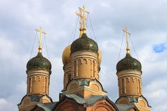 Domes of the Znamensky monastery Stock Photos