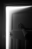 Domestic abuse, fear, mystical door or unknown confronted Stock Photos