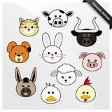 Domestic Animal Cute Cartoon. A set of domestic animal faces Royalty Free Stock Image