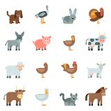 Domestic Animal Flat Icons Set Royalty Free Stock Photo