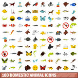100 domestic animal icons set, flat style. 100 domestic animal icons set in flat style for any design vector illustration Stock Photo
