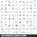 100 domestic animal icons set, outline style Royalty Free Stock Photo
