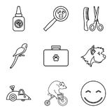 Domestic animal icons set, outline style. Domestic animal icons set. Outline set of 9 domestic animal vector icons for web isolated on white background Stock Illustration