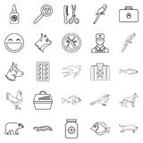 Domestic animal icons set, outline style. Domestic animal icons set. Outline set of 25 domestic animal vector icons for web isolated on white background Royalty Free Stock Images