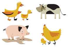 Domestic animals. Cartoon domestic animals vector set Stock Images