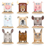 Domestic animals icon set Stock Photos