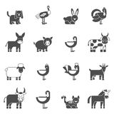 Domestic Animals Icons Set Stock Photography
