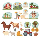Domestic animals, organic vegetables and young workers from farm. Wooden barn, male and female farmers, sweet beet, crispy carrot, equipment for work on ground Royalty Free Stock Photo