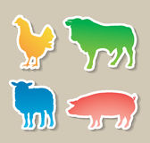 Domestic animals stickers Royalty Free Stock Photos