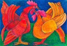 Domestic animals. village roosters Stock Image