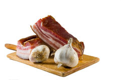 Domestic bacon with garlic Stock Image