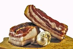 Domestic bacon with garlic Stock Photography