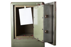 Domestic burglary. Safe box emptied by thieves. Blank space royalty free stock photography