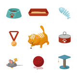 Domestic cat cartoon icons vector set Royalty Free Stock Photo