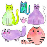 Domestic cat. Hand-drawn set of cartoon pets. Real watercolor drawing. Vector illustration. Royalty Free Stock Photography