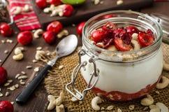 Domestic cherry yogurt Stock Photo