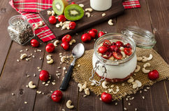 Domestic cherry yogurt Stock Photos
