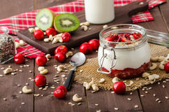 Domestic cherry yogurt Royalty Free Stock Photography