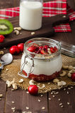 Domestic cherry yogurt Stock Images