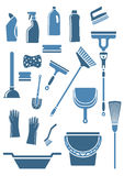 Domestic cleaning tools and supplies. Domestic tools and supplies for cleaning including mop, broom, bucket, brushes, gloves, sponges, dustpan, plunger, squeegee Stock Photography