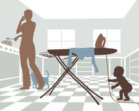 Domestic danger. Editable vector illustration of a distracted mother with baby in danger from pulling on the cord of an iron Stock Images