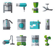 Domestic Equipment colored icons with half shadow Stock Image