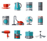 Domestic Equipment colored icons with half shadow Stock Photo