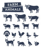 Domestic farm animals flat silhouettes vector icons Royalty Free Stock Image