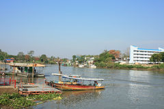 Domestic ferry port in Chao phraya river. At Ayutthaya province, Thailand Royalty Free Stock Photo