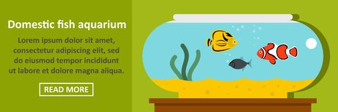 Domestic fish aquarium banner horizontal concept. Flat illustration of domestic fish aquarium banner horizontal vector concept for web Stock Images