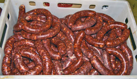 Domestic fresh sausages Stock Image