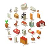 Domestic furniture icons set, isometric style. Domestic furniture icons set. Isometric illustration of 25 domestic furniture vector icons for web Stock Photo