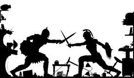 Domestic gladiators silhouette Stock Image