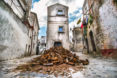 Domestic heating firewood old in south italy village Vico del Ga Royalty Free Stock Photo