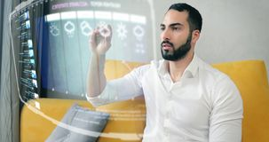 Domestic Hologram Browser Screen. Handsome bearded asian man using futuristic hologram touchscreen with swipe gestures control, domestic future internet browser vector illustration